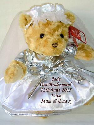 Personalised Flower Girl Teddy Bear Bridesmaid Soft Toy Wedding Bridal Gift  ()