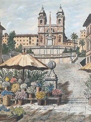 Roma Piazza di Spagna. Radierung signiert.