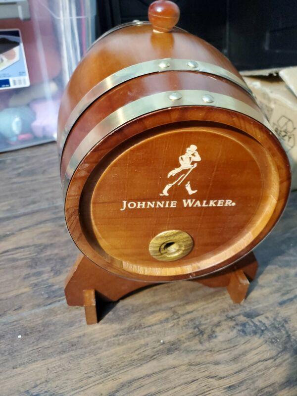 Whiskey Barrel Johnnie Walker Wooden W/Stand Display Man Cave Bar Scotch