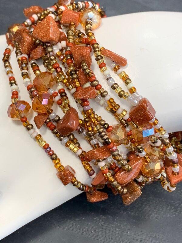 Bracelet Bohemian Shades Brown Sunstone Glass Crystal Woven Seed Bead Bracelet
