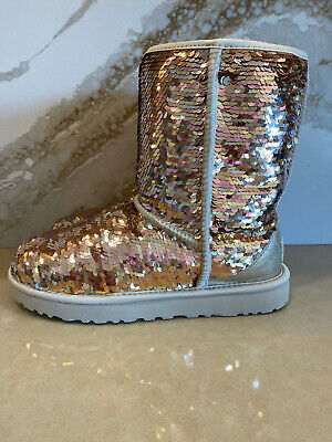 UGG Women's Classic Short Boots Gold Combo Sequins Sparkle Size 9