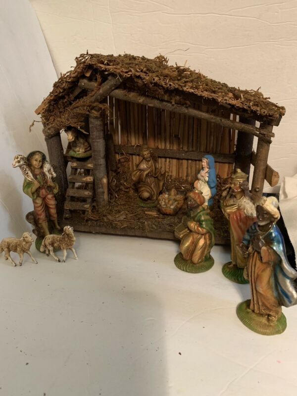 Vintage Sears Christmas Nativity Manger Set 10 Figurines 71-97136 Made In Italy