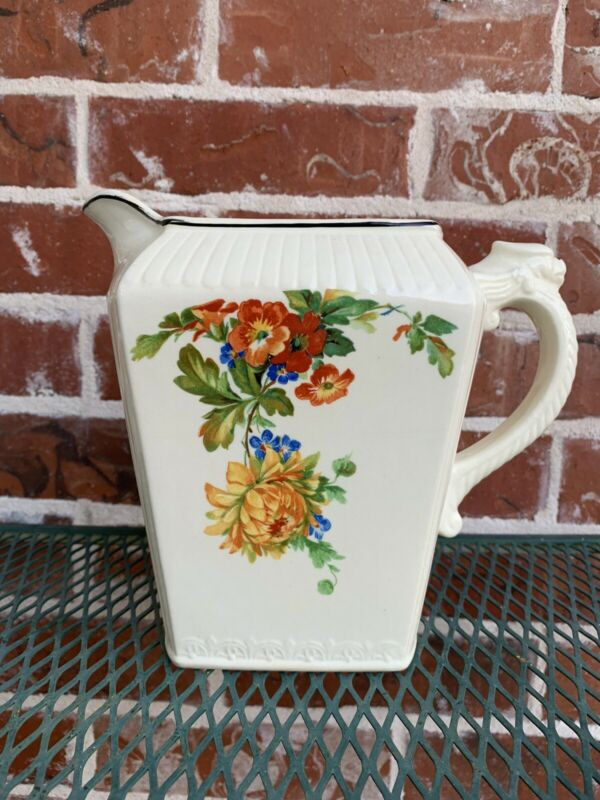 Vintage HARKER Pitcher With Beautiful Multi Color Floral Pattern