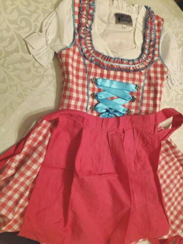 Girls,Kids,US sz 8,Germany,Trachten,Oktoberfest,Dirndl Dress,3-pc.Fuchsia,Blue
