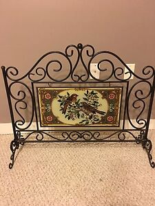 Fireplace stained glass and rod iron stand.  Edmonton Edmonton Area image 1