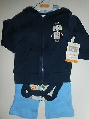 Boys 'HUDSON BABY' HOODIE, TROUSERS & BODYSUIT SET/OUTFIT, AGE 3-6 MONTHS, NWT.