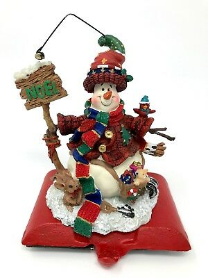 Snowman Stocking Hanger, Christmas Noel Stocking Holder, Cast Iron Base, NIB