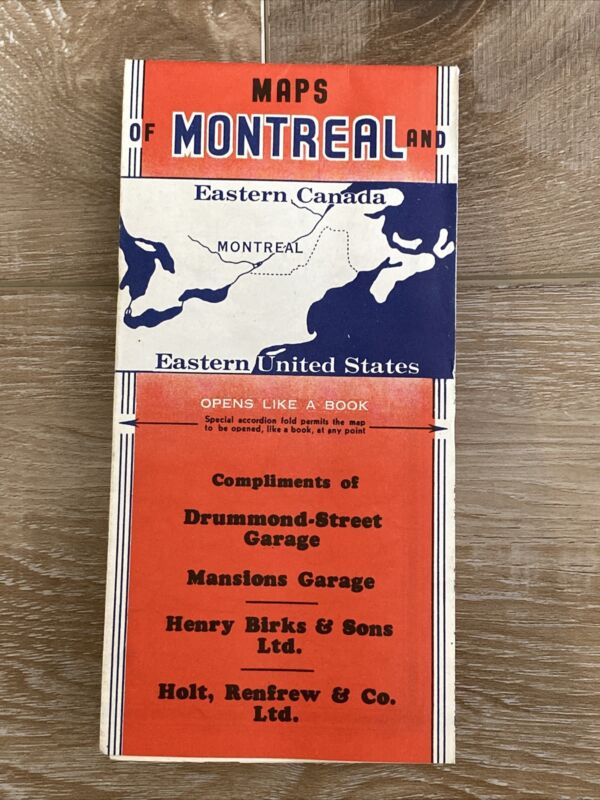 Vintage 1946 Street & Highway Map of Montreal and Eastern Canada