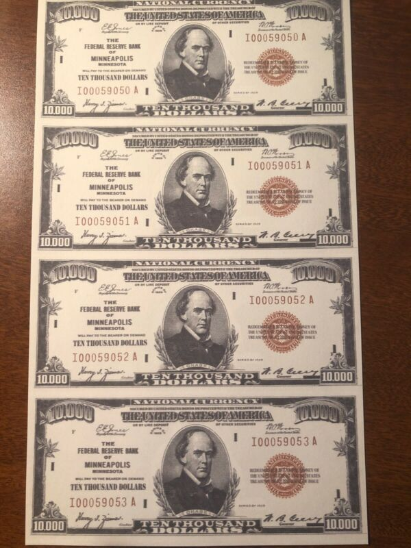 Copy 1929 National $10,000 Uncut Reproduction Currency Money Sheet Fantasy
