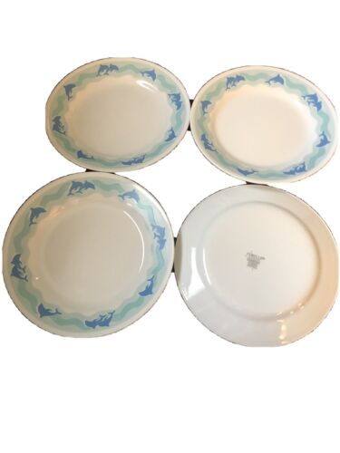 Lot Of 4 Corelle Ocean Dance 8.5 Salad Plates Dolphin - $19.99