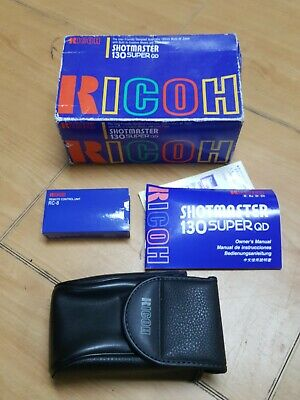 Ricoh Shotmaster 130 Super QD Point And Shoot 35mm Box,case,remote, rc-8, book.