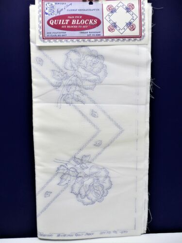 """6 Vintage Quilt Blocks ROSES Stamped to Embroider NEW 18"""" Nojae * USA"""