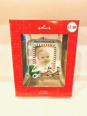 Hallmark Baby's First Christmas Picture Frame Blue Ornament Red Box NIB (First Christmas Picture Frame)