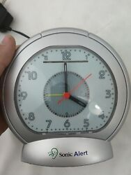 LOUD Sonic Alert Analog Alarm Clock with Bed Vibrator Sonic Boom LED w/ Manual