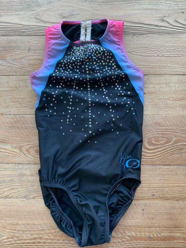 Ozone Gymnastics leotard KZ Line Open Back Pink Black Blue Sequin
