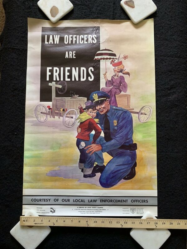 Vintage Law Officers Are Friends Law Enforcement/police Child Safety Poster 1965