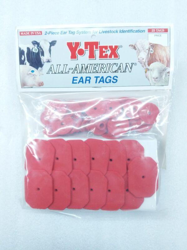 Y-TEX Swine Star 2-Piece Livestock Ear Tags Pig Hog 25 Pack Red 5707-000 Blank
