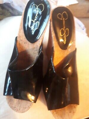 Jessica Simpson Patent Cork Wedge Shoes Size 6