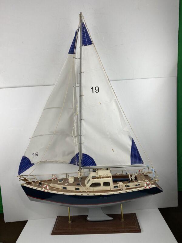 """Antique Vintage Wooden 42"""" Model Pond Boat Yacht Sailboat Complete Detailed"""