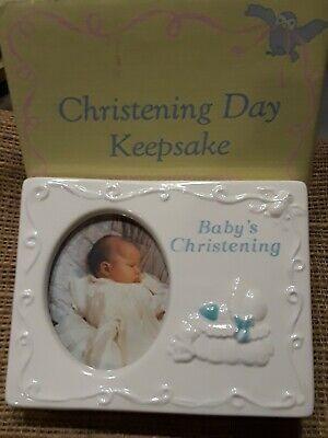 Ceramic Baptism Christening Frame for Boy - by Russ - Baptism Frame