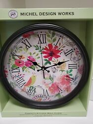 Michel Design Works Flowers/Butterflies Kitchen Wall Clock Metal & Glass Framed