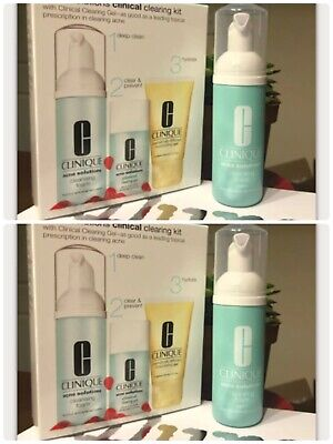 Lot Of 2 New Clinique Acne Solutions Cleansing Foam 1.7 oz - Just The Cleanser