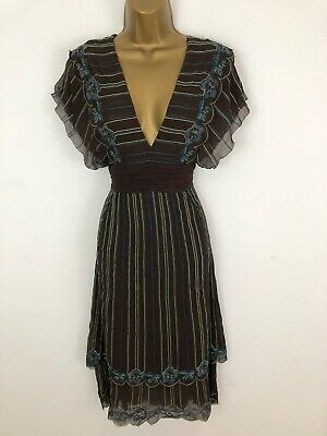 Karen Millen Dress Brown Embroidery Ruffle Batwing Sleeve Low V Neck Size 10