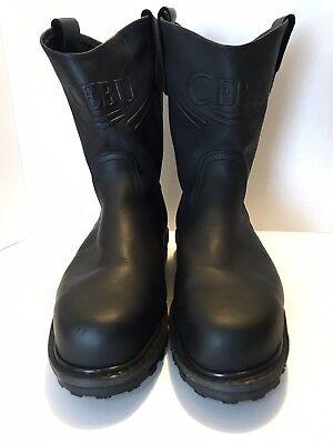 CEBU Work Boots Steel Toe BLACK Mens Sz 12 Comfort Soles Acid Resistant Preowned ()