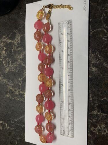 Uno Alla Volta Venetian Murano Glass Made In Italy Necklace 18 -20 Pink Gold - $48.00