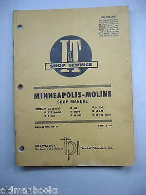 Minneapolis Moline Ub Uts Special 5 Star M5 Mm-16 It Shop Manual