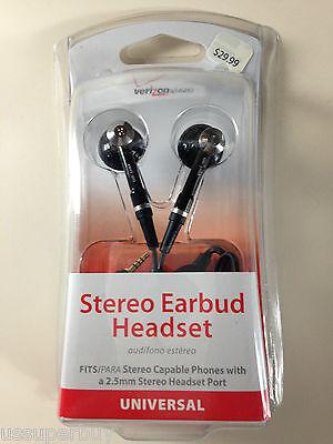 NIB Wholesale Lot 10x Verizon OEM Stereo Earbud Headset 2.5mm Black Answer/En