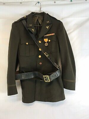 WW2 US Army Officers Jacket And Sam Brown Belt Nice 1944 Dated