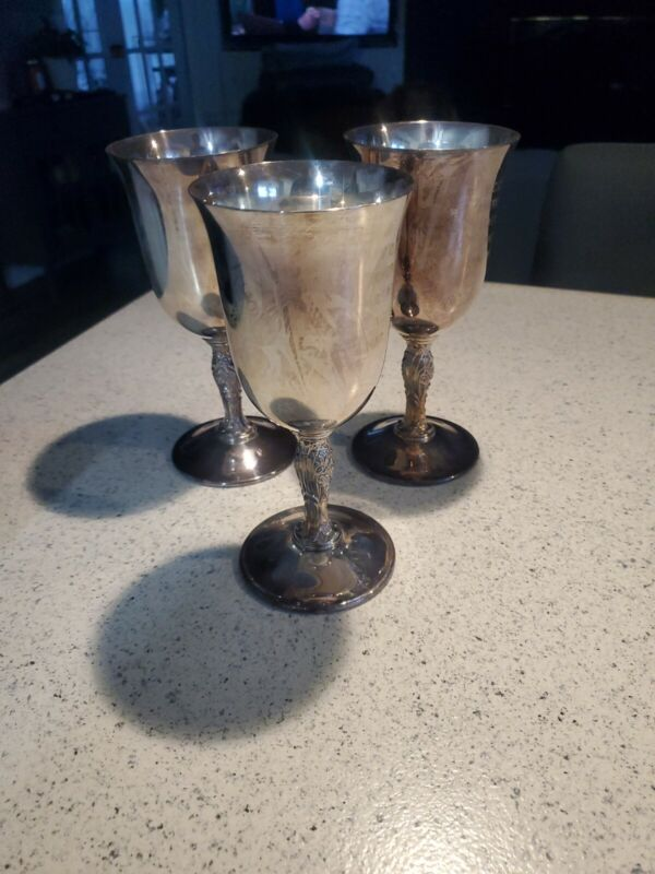 Set 3 Wm Rogers Silverplate Floral Stem Goblets Wine Glasses Engraved! See pic