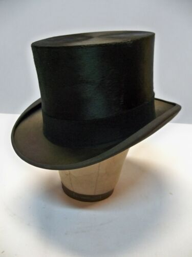Vintage Flawless Silk Top Hat 7 3/8 with Box Southcomb Hatter Timeless Amazing