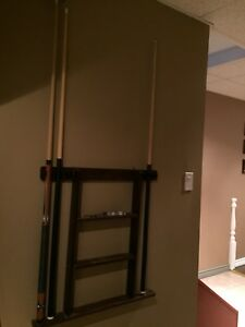 Pool cue holder and cues