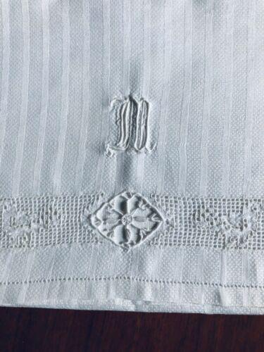 "Antique Monogrammed White Huck Towel - ""M"""