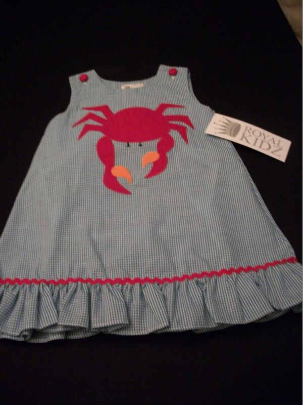 NEW ROYAL CHILD APPLIQUED A-LINE SUNDRESS OR JUMPER YEAR AROUND ITEM BOUTIQUE