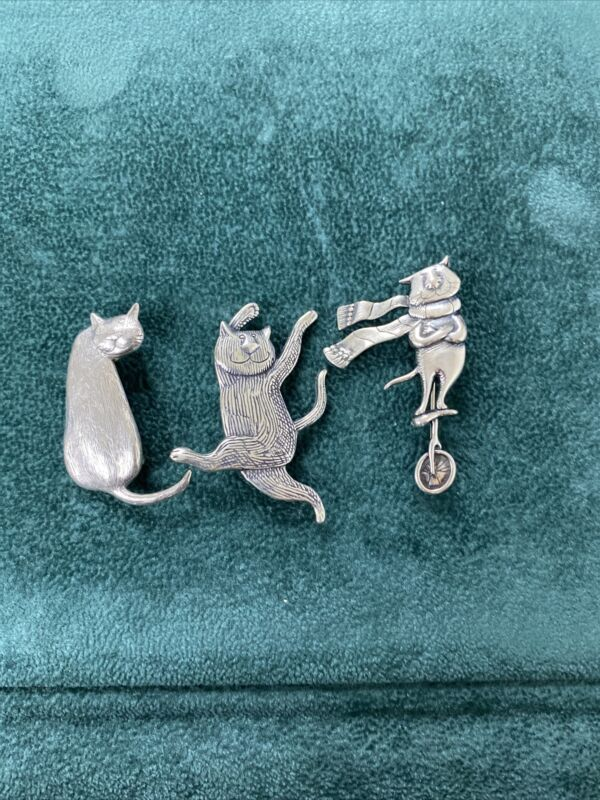 Lot Of 3 Sterling Silver Edward Gorey Cat Brooches
