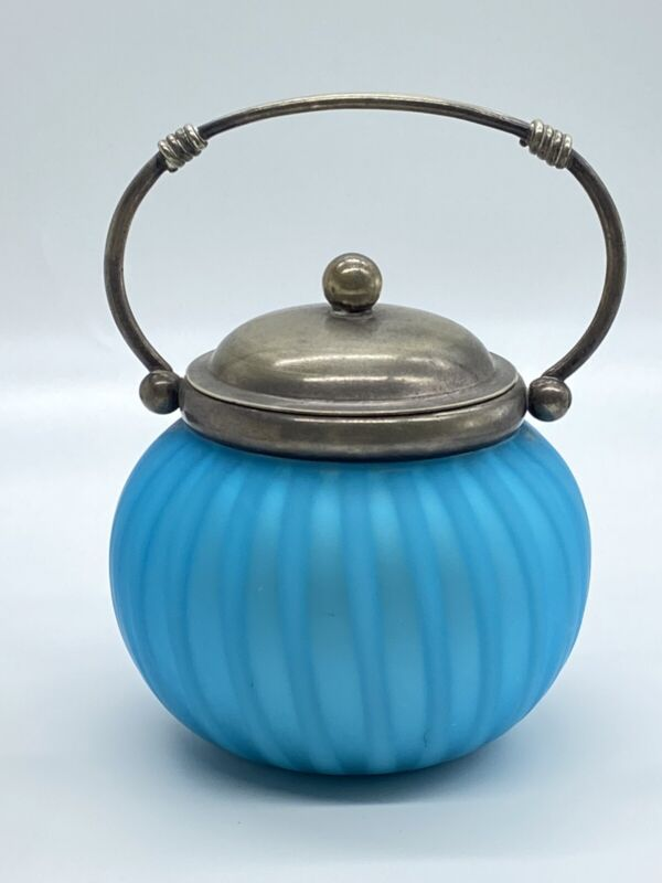 Antique Blue Satin Cased Glass Biscuit Jar with Silver Plate Lid