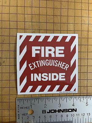 Fire Extinguisher Inside 4.25 Inch Vinyl Adhesive Safety Sticker