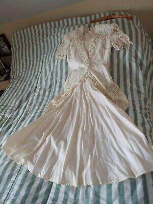 VINTAGE NANCY JOHNSON BRIDAL WEDDING DRESS GOWN RAMIE LINEN CUT LACE SIZE 8