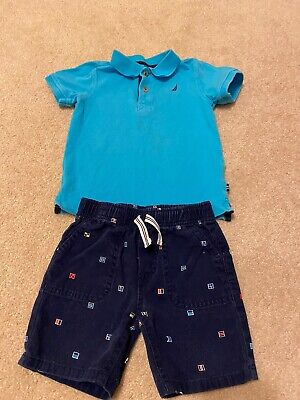 Nautica Toddler Baby Boy Blue Polo Signal Flag Shorts Outfit Size 2T