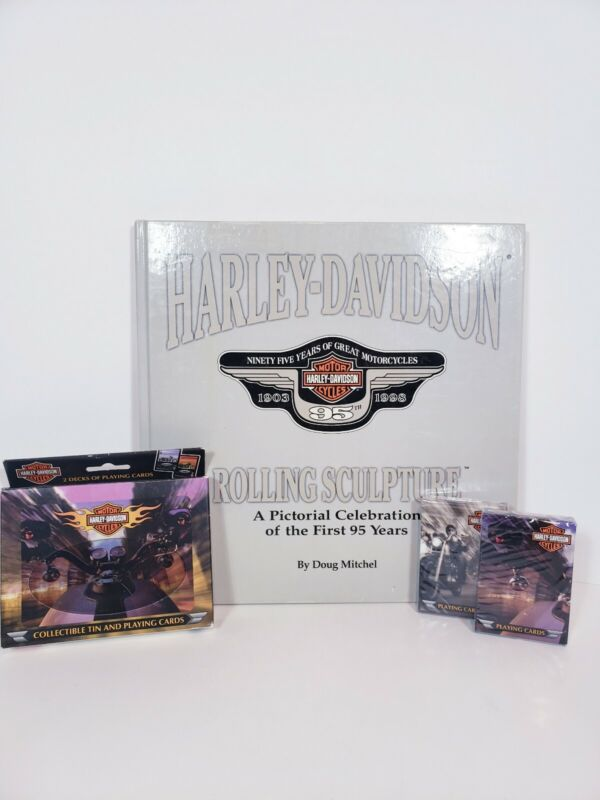Harley Davidson tin & playing cards plus 1903- 1998 rolling  Sculture Book