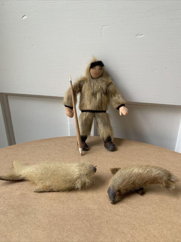 Handmade Vintage Eskimo Inuit Doll & Seals