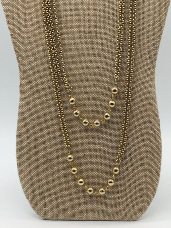 VINTAGE GOLD TONE CHAIN AND BEAD VERY LONG NECKLACE