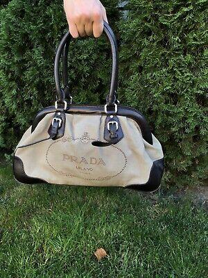 Prada Womens Canvas Big Logo Hand Bag