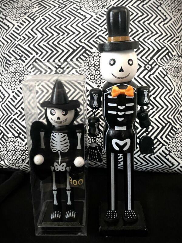 "12"" and 9"" Halloween Soooky Skeleton Nutcracker Set.  October Decoration NEW"