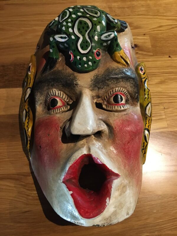 Mexican Dance Mask Carved Wood Frog Snakes