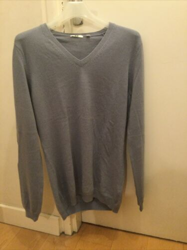 Pull femme col v 100% cachemire gris parme t.xl uniqlo neuf