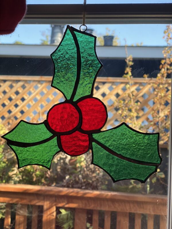 Vintage Stained Glass Window Suncatcher Christmas Ornament Vintage Holly